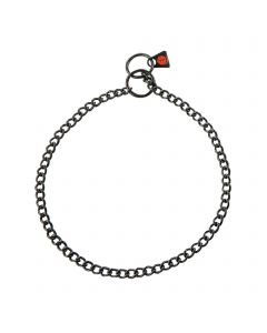 Collar, round links - Stainless steel black, 2.0 mm