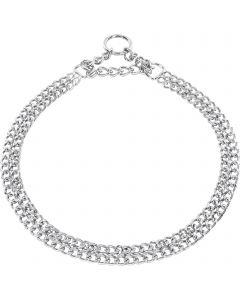 Halskette, 2-reihig, flach geschliffene Glieder - Stahl verchromt, 2,0 mm