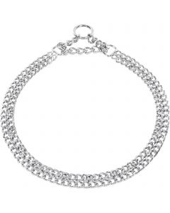 Twin Row Martingale Collar, flat polished links - Steel chrome-plated, 2.0 mm