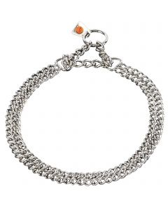 Twin Row Martingale Collar, flat polished links - Stainless steel, 2.0 mm