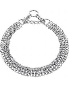 Halskette, 3-reihig, flach geschliffene Glieder - Stahl verchromt, 2,0 mm