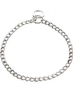 Halskette, flach geschliffene Glieder - Stahl verchromt, 2,5 mm