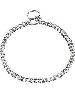 Halskette, flach geschliffene, enge Glieder - Stahl verchromt, 3,0 mm