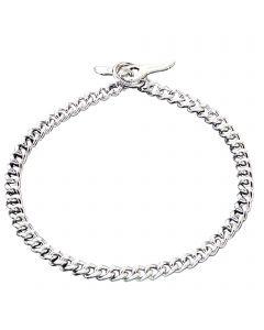 Halskette mit Knebelverschluss, flach geschliffene, enge Glieder - Stahl verchromt, 3,0 mm