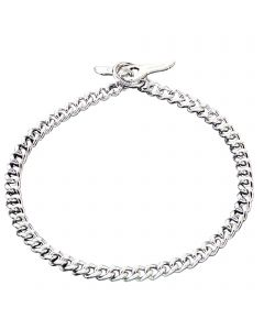 Collar with Toggle-Closure, flat polished, narrow links - Steel chrome-plated, 3.0 mm