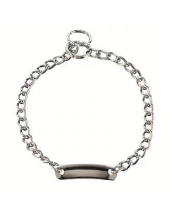 Collar with plate, round links - Steel chrome-plated, 3.0 mm