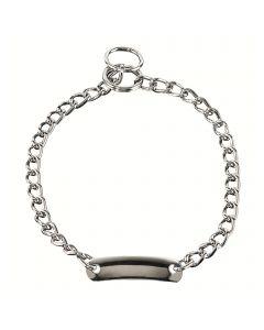 Halskette mit Schild, runde Glieder - Stahl verchromt, 3,0 mm
