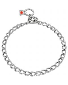 Collar, round links - Stainless steel matt, 3.0 mm