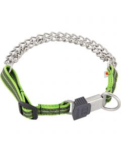 Twin row martingal collar with ClicLock, adjustable - Stainless steel matt, 3.0 mm, green coloured strap
