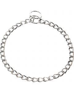 Halskette, flach geschliffene Glieder - Stahl verchromt, 3,0 mm