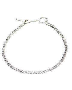 Halskette mit Knebelverschluss, runde Glieder - Stahl verchromt, 2,0 mm