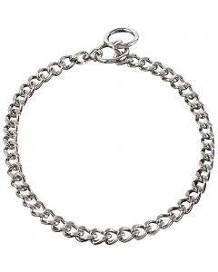 Halskette, flach geschliffene, enge Glieder - Stahl verchromt, 4,0 mm