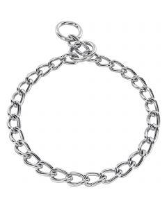 Halskette, runde Glieder - Stahl verchromt, 4,0 mm