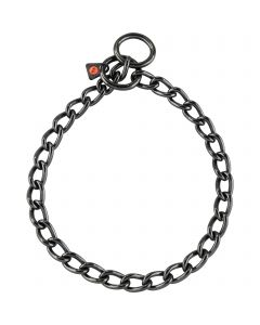 Collar, short links - Stainless steel black, 4.0 mm
