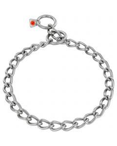 Collar, round links - Stainless steel matt, 4.0 mm