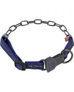 Halskette, verstellbar, mit ClicLock - Edelstahl Rostfrei schwarz, 3,0 mm, cyan