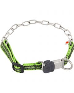 Collar, adjustable, with assembly chain - Stainless steel matt, 3.0 mm, lemon green