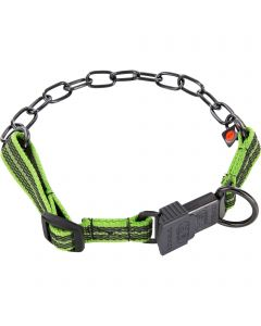 Collar, adjustable, with assembly chain - Stainless steel black, 3.0 mm, lemon green
