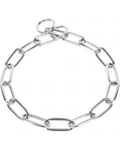 Collar, long links with key ring - Steel chrome-plated, 4.0 mm