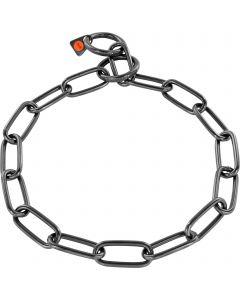 Collar, long links - Stainless steel black, 4.0 mm