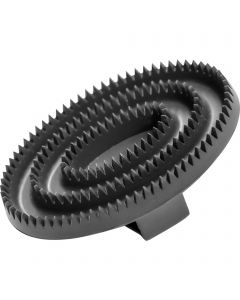 Curry comb, oval - rubber, black, 125 x 80 mm