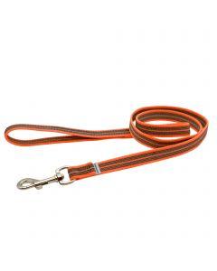 Rubberized leash with handle - orange, 200 cm / 6,5 ft