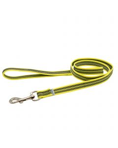 Rubberized leash with handle - yellow, 200 cm / 6,5 ft