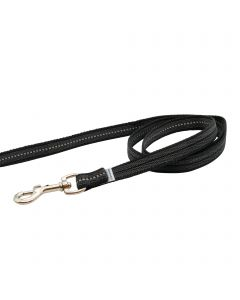 Rubberized leash without handle - black, 100 cm / 3 ft