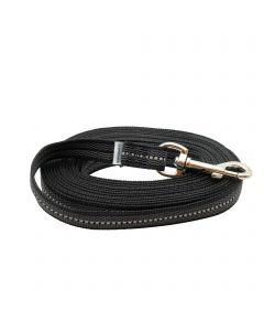 Rubberized leash without handle - black, 500 cm / 16,5 ft