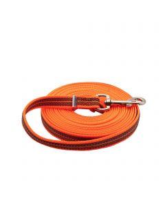 Gummierte Leine ohne Handschlaufe - orange, 500 cm